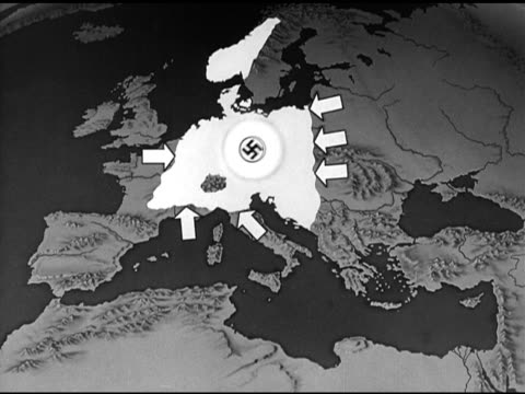 MAP Animated map highlighting Nazi Germany Occupied Territories shrinking arrows showing Allied Soviet advance on Germany