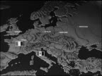 MAP Animated map of Europe w/ USSR Soviet Communist symbol of 'hammer and sickle' moving east across Europe