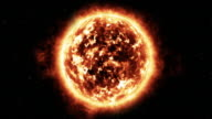 Animated sequence showing solar activity on the surface of the sun.