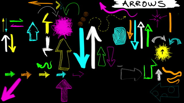Animated Sketches - Hand Drawn Arrows Fluoro Neon (with Alpha)