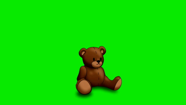 Animated Teddy Bear on Green