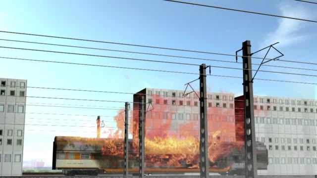 3D animierte Waggons, simulierte brennenden Wagen