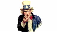 Animated Uncle Sam talking