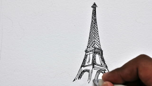 animation drawing Eiffel Tower is located in Paris time-lape