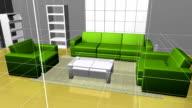 Animation interior decoration effect 3D rendering