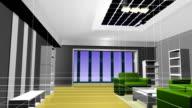 Animation interior decoration effect 3D rendering.