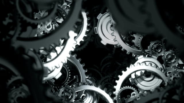 Animation moving through spinning gears and cogs