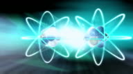 Animation nuclear fission occurring when uranium atom is split by neutron, resulting in energy and two neutrons