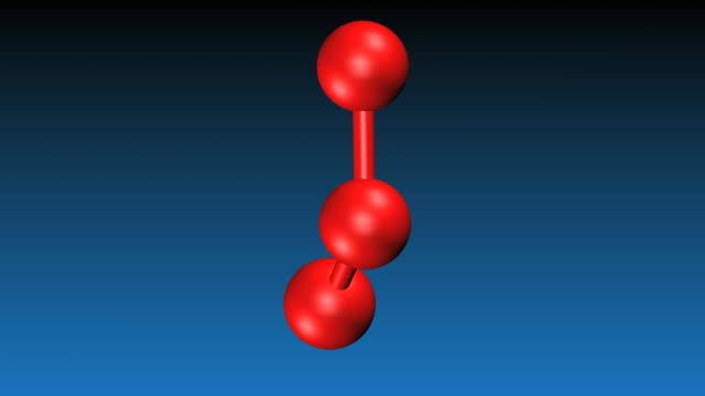 O3 Bond Angle: Animation Of Ozone Molecule Stock Footage Video