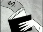 1950 B/W MONTAGE Animation of paper money flying out of man's wallet, man crying / USA / AUDIO