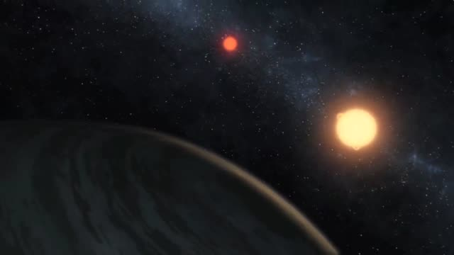 Animation of planet Kepler16b circling two stars discovered by NASA's Kepler mission