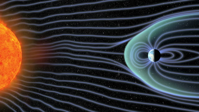 Animation of solar wind patterns and radiation from the Sun, with the Earth's magnetic field.