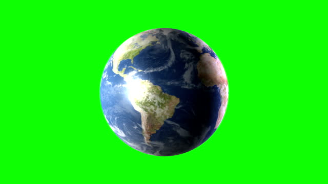 HD Animation of Spinning Earth on Green Screen BG