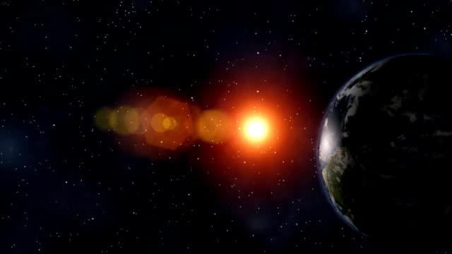 3D animation of sunrise behind Earth followed by enormous explosioin