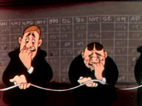 1949 animation Pan down row of stockbrokers biting fingernails while reading stock ticker tape / audio