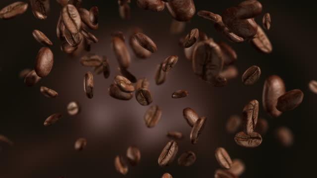 Animatie video van dalende koffiebonen-loopbare achtergrond in 4K