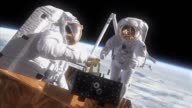 Animation view of Hubble Space Telescope / animation showing the different mission duties the astronauts will perform changing out Hubble's...