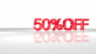 3D animation with 50%OFF phrase in FullHD.