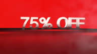 3D animation with 75%OFF phrase in FullHD.