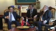 Ankara Mayor Melih Gokcek meets with the leader of the Liberal Democratic Party of Russia Vladimir Zhirinovsky and his accompanying deputies on an...
