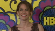 Anna Chlumsky posing for paparazzi on the red carpet at the Pacific Design Center