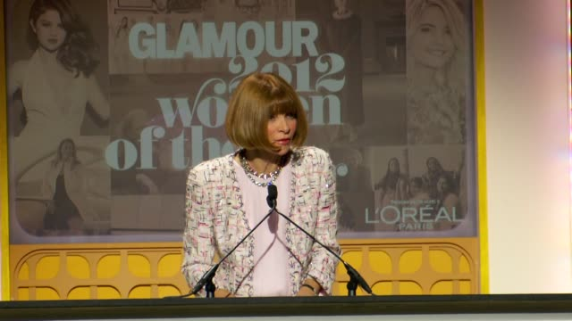 Anna Wintour is delighted to present an award to Annie Liebovitz at Glamour Magazine's 22nd Annual Women Of The Year Awards at Carnegie Hall on...