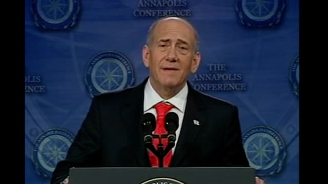 Middle East peace summit INT Ehud Olmert press conference SOT the time has come / we no longer and you no longer have privilege of adhering to dreams...