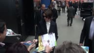Anne Hathaway arrives at the Good Morning America show signs for fans in Celebrity Sightings in New York