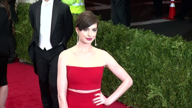 Anne Hathaway at 'James Charles Beyond Fashion' Costume Institute Gala Arrivals at The Metropolitan Museum on May 05 2014 in New York City