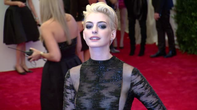 Anne Hathaway at 'PUNK Chaos To Couture' Costume Institute Gala at Metropolitan Museum of Art on May 06 2013 in New York New York