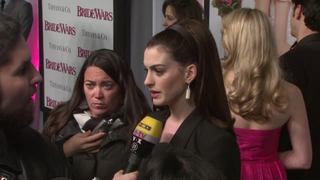 Anne Hathaway at the 'Bride Wars' Premiere at New York NY