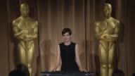 INTERVIEW Anne Hathaway on her Oscar preparations and the best and worst thing about the awards season at the 85th Academy Awards Nominations...