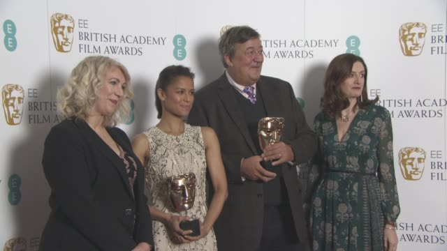 Anne Morrison Gugu MbathaRaw Stephen Fry Amanda Berry at The EE British Academy Film Awards nominations announced on January 8 2016 in London England