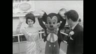 Annette Funicello Frankie Avalon and comedian Buddy Hackett attend the New York Worlds Fair Annette greets Mickey Mouse Annette and Frankie sign...