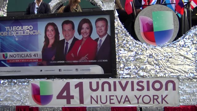 Annual Hispanic Day Parade on Fifth Avenue in Manhattan New York City USA on October 11 2015 Telemundo Parade Float Univision Canal 41