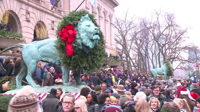 WGN Annual Wreath Ceremony of the Chicago Art Institute Lion Statues on Nov 25 2016