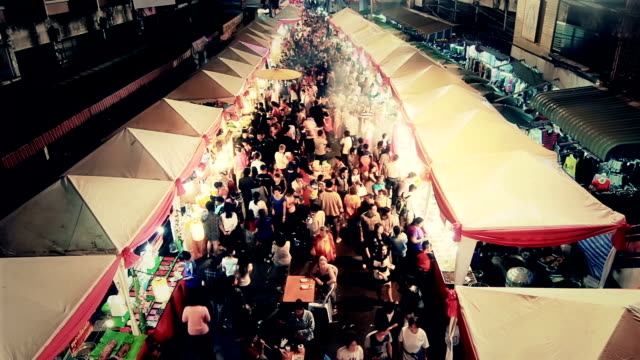 Anonymous crowd in night market