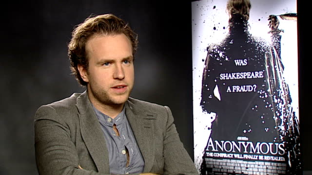 'Anonymous' Interviews with cast and director Rafe Spall interview SOT On 'Anonymous' not being a theory he believed before the film and admitting...