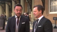 Ant and Dec receive OBEs Buckingham Palace Ant and Dec interview SOT/ Ant and Dec hold up OBE medal to camera