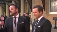 interview Ant and Dec receive OBEs interview ENGLAND London Buckingham Palace EXT Anthony McPartlin and Declan Donnelly interview SOT re OBE...