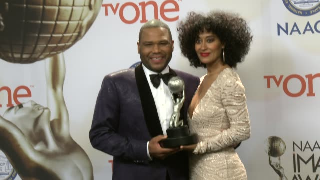 Anthony Anderson and Tracee Ellis Ross at the 46th Annual NAACP Image Awards Press Room at Pasadena Civic Auditorium on February 06 2015 in Pasadena...