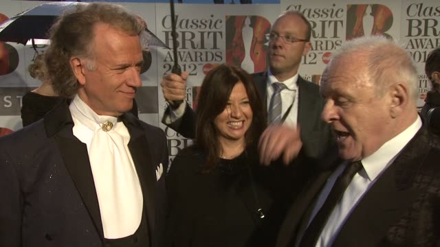 Anthony Hopkins Andre Rieu on composing working together and more at Classic Brit Awards 2012 at Royal Albert Hall on October 02 2012 in London...