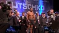 Anthony Joshua and Wladimir Klitschko weighin prior to their fight Wladimir Klitschko onto stage and stripping off / Klitschko weighIn / Anthony...