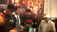 Anthony Joshua press conference and interview Anthony Joshua Eddie Hearn Eric Molina and Roberto Zapata pose for photos