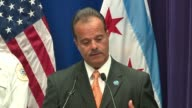 WGN Anthony Riccio Chief of Chicago's Bureau of Organized Crime spoke at a press conference on March 24 2017 after a series of drug and gang raids on...