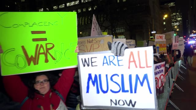 Anti Donald Trump protesters gathered in Foley Square – Manhattan to protest the controversial executive order signed by President Donald Trump's...