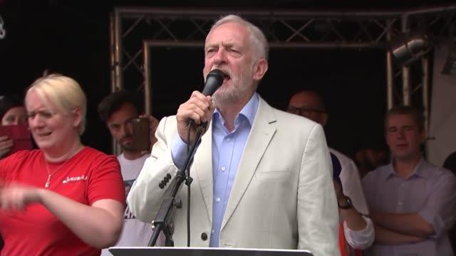 Jeremy Corbyn speech ENGLAND London Westminster Parliament Square EXT Jeremy Corbyn MP speech SOT re austerity election food banks DUP public sector...