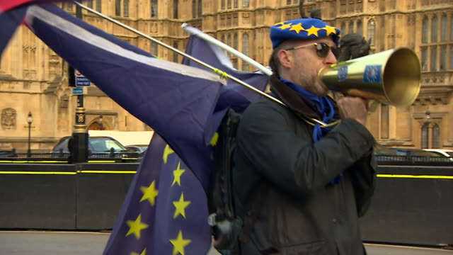 AntiBrexit campaigners protesting outside Parliament