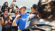 Antifa and counter protesters surround a Trump supporter in Martin Luther King Park in Berkeley California Several Trump supporters were in the park...