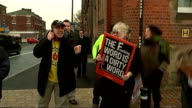 Antifracking campaigners in Lancashire ENGLAND Lancashire EXT Woman holding placard 'No Fracking' / various shots of antifracking protesters holding...